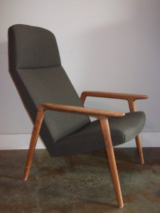 Unique Mid-century modern high back oak easy chair - made in Finland - lovely lines on this beauty - newly upholstered - (SOLD)