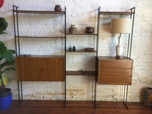 Incredible Mid-century Modern walnut and metal shelving system - nice quality - arrange to suit - perfect for your home office, living room or anywhere you want or need some storage and some visual appeal :) this beauty measures -