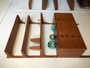 Outstanding Mid-century Modern teak wall system with a drop down cabinet and 4 drawers - all pieces are adjustable - excellent condition - this beauty measures -