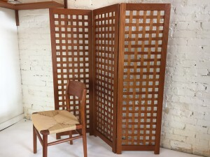 "Incredible Mid-century Modern teak ""basket weave"" 3 panel screen - a ""RARE FIND"" - perfect for large spaces to break it up a bit without having large dividing drywall walls:) and perfect for smaller spaces that need a little privacy - so many applications - newly refinished - very nicely made - $650"