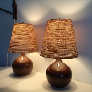 "Spectacular/Perfect Pair of Mid-century Modern ceramic bedside lamps by husband and wife duo Lotte and Gunnar Bostlund - handsome earthy brown glaze - comes with their original fiberglass shades, that glows like no other - these beauties st17"" tall including the shade - (SOLD)"