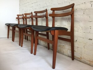 Incredible Set of 4 Danish Modern completely restored Poul Hundevad teak dining chairs - beautiful form - come try them out :) - $2000