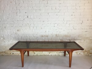Stunning Mid-century Modern teak coffee table with the fantastic original thick smoked glass top - incredible design - quality craftsmanship - excellent condition - (SOLD)