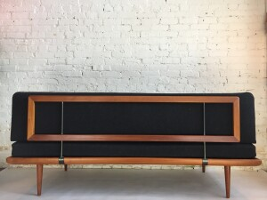 """Peter Hvidt & Orla Molgaard-Nielsen """"Minerva"""" Sofa /Daybed - for France & Daverkosen - Made in Denmark circa 1950's - this beauty retains the original boxspring cushions ( for extra comfort ) and the original high quality black wool is in excellent condition, no fading or stains - WOW- (SOLD)"""