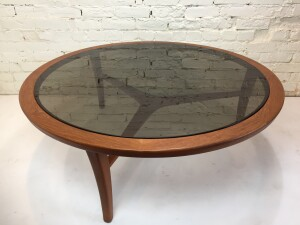 Outstanding Mid-century Modern teak tri-leg coffee table with original thick smoked glass table top - incredible design - a definite show piece for your home - $975