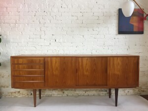 Gorgeous MId-century Modern teak sideboard - so many incredible features with this beauty - finished back, dovetailed drawers, adjustable shelving, lovely rich dark patina - (SOLD)