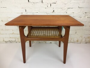 """Danish Modern teak 2 tier side table by Trioh - Made in Denmark - - spectacular Danish craftsmanship - excellent re-finished condition - 29.5""""Lx 20.5""""D x 20""""H - (SOLD)"""