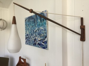 Exceptional MId-century Modern glass light on a reclaimed 1960's brazilian Rosewood wall arm ( salvaged from a 1960's sofa ) WOW - this elegant long-wall light is a great opportunity to add a striking vintage/MCM touch to any contemporary space - (SOLD)