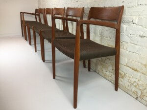 Exceptional set of 1960's teak dining chairs Model #76 designed by Niels Moller for J.L. Moller - Made in Denmark - this set comes with 4 side chairs and 2 arm chairs - very hard to find set with 2 arm chairs - excellent vintage condition - a forever set that you pass down :) - $3400