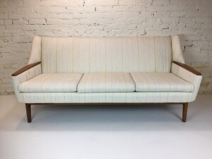 """Gorgeous Mid-century Modern 3 seater teak sofa - stylish, comfortable and built to last - the perfect combination - this beauty measures - 73""""L x 30""""D x 33""""BH x 18""""SH -$1375"""
