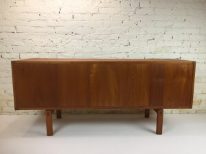 """Exceptional Mid-century Modern teak sideboard designed by Lennart Bender for Ulferts , Sweden - this beauty has many amazing features, for starters it has a gorgeous finished back so you can use it as a roomdivider, it has craftmanship dovetailed drawers, a secret extra flatware drawer inside the top drawer ... it has rosewood hand carved drawer pulls and doors ... this beauty has been newly refinished and ready for it's new home - 64""""L x 18""""D x 28""""H (SOLD)"""
