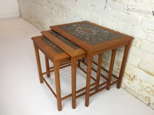 Gorgeous Set of Scandinavian Modern teak nesting tables with lovely ceramic tile tops - by Mobelfabrikker - Toften - Denmark - perfect for compact living - newly refinished - (SOLD)
