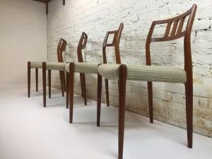 Exquisite Set of 4 Danish Modern 1960's teak dining chairs designed by Niels Moller for J.L.Moller - Model #79 - high quality Danish craftsmanship at it's best - $2000/Set