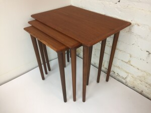 Handsome Set of Scandinavian Modern teak nesting tables -incredibly functional for small spaces or spaces that are looking for a more minimalist look :) - newly refinished -(SOLD)