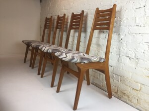 Handsome Mid-century Modern teak high back dining chairs by Korup Stolefabrik - Made in Denmark - nicely made - (SOLD)