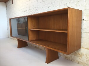 """Incredible quality teak hutch /sideboard with a completely finished back manufactured by Bernhard Pederson and Son, Denmark . - perfect for a T.V media unit, or place in your entry way - or perhaps you need a handy cabinet for behind your sofa - 71"""" L X 12.5 D X 30"""" H (SOLD)"""