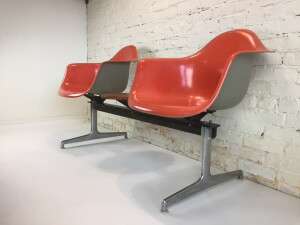 Spectacular Vintage 1970's Original Eames bench seating by Herman Miller - gorgeous salmon fiberglass with painted grey back - this bench would be perfect in an office, and entry way to your MCM home or under a covered outdoor space - :) An Eames MCM collector's dream chairs - (SOLD)