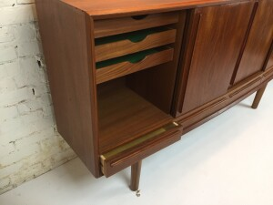 Tall bow front sideboard by H.P. Hansen Denmark,1960's (SOLD)