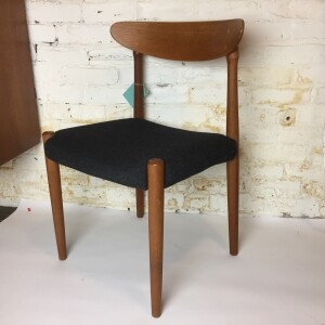 Gorgeous Mid-century Modern teak dining chairs recently upholstered in a gorgeous charcoal grey wool kvadrat fabric - $350