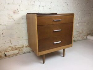 """1960's 3 drawer bedside dresser Designed by John and Sylvia Reid for Stag Furniture in the UK as part of the """"Fineline"""" Series - walnut and birch with stainless steel handles - (sold"""