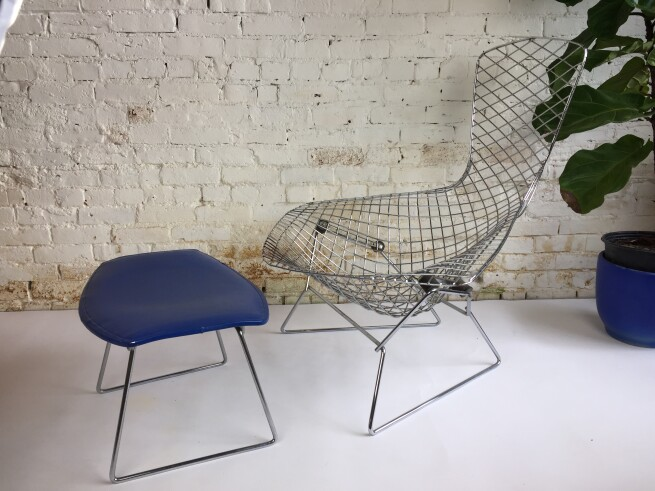 Bird Chair and footstool by Harry Bertoia for Knoll 1960's We left the old cover on the footstool to show the original Knoll, Park Ave New York label. This chair is a astounding study in space, form and function by one of the master sculptors of the last century. (SOLD)
