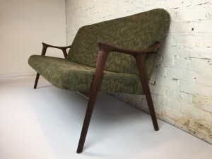 Spectacular Mid-century Modern teak sofa - Made in Norway - newly re-finished solid teak wood frame - upholstery is clean and free from any rips or stains, but would definitely benefit from having it re-upholstered to suit - priced so you can do just that - (SOLD)