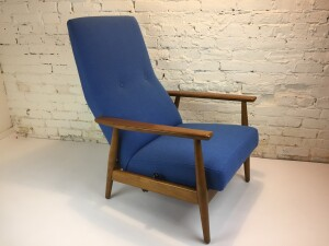 Exceptional 1960's Rock n Rest lounge chair - Made in Norway - completely restored with new quality foam for incredible comfort and newly upholstered in a gorgeous blue fabric by Kvadrat - (SOLD)