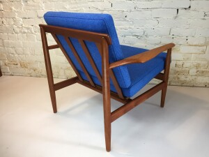 Outstanding Mid-century Modern teak easy chair - Made in Denmark - completely restored - all new high quality straps by pirelli , foam and stunning wool blend fabric my Maharam - (SOLD)