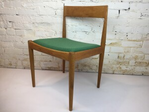 Incredible Danish Modern teak and oak dining chairs by Fritz Hansen - stamped on base - newly re-finished wood frame and upholstered seat - WOW - Set of 2 - (SOLD)