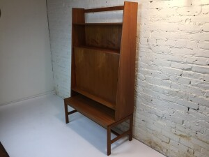 """Incredible MId-century Modern 2 piece teak shelving unit - quality Danish craftsmanship - many lovely details - excellent condition --39.25""""W x 17.75""""D x 67.75""""H$1650"""