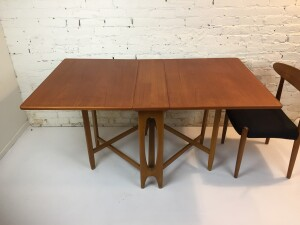 """Gorgeous 1960's Scandinavian Modern teak and beech drop leaf dining table - perfect for smaller spaces - incredibly versatile - at it's smallest - 8.25 """"W fully extended - 58.75""""L - newly refinsihed top -(SOLD)"""