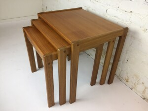 Handsome set of teak nesting tables - these would make a perfect addition to your MId-century or Modern home - very nice vintage condition - newly tighted up and ready to go -(SOLD)