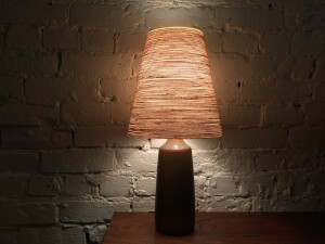 Gorgeous Mid-century Modern ceramic lamp with it's original shade - desgined and made by Lotte & Gunnar Bostlund - stunning earthy glaze (SOLD)