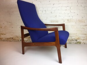 Incredible Mid-century Modern teak high back reclining lounge chair made by Oscar Grann Furniture - North Van - circa 1968 - all new foam and reupholstered in a stunning rich cobalt blue upholstery by Maharam - (SOLD)