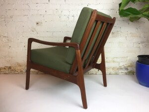 Spectacular Mid-century Modern 1960's solid teak easy chair -newly restored - looks like new - new foam, upholstered in a gorgeous earthy green soft wool and the solid teak frame has been newly refinished and looks absolutely stunning -(SOLD)check out the matching loveseat with a gorgeous complimentary rust orange wool fabric