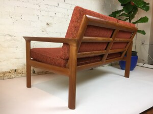 Incredible high quality and very comfortable Danish solid teak, loveseat by Danish company Komfort - the condition is superb - -(SOLD)