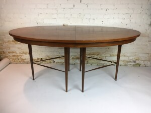 """Incredibly unique - one of a kind MCM oval walnut dining table -comes with 3 leaves - the table is in good vintage condition - but could use refinishing to bring it to it's beauty - comes with the 4 matching chairs in previous post with the green seats - table measures - 64""""L x 42""""D x 29.5""""H - 3 leaves - 12"""" each (SOLD)"""