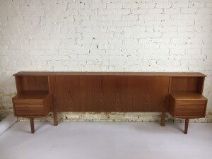 """Spectacular Mid-century Modern Queen size teak headboard with floating end tables - made by Canadian Company Imperial - circa 1960's - 96.5""""L x 13.5""""D x 30.5""""H (SOLD)"""