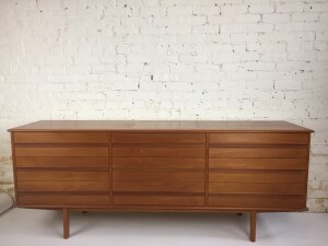 Handsome 1960's Mid-century Modern 9 drawer teak dresser by Canadian Company Imperial - super sleek and minimal in design -(SOLD)