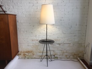 1950's wrought iron floor lamp with a built in table - so clever - Made in Canada - comes with new custom shade - (SOLD)