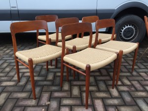Incredible Mid-century Modern Classic Scandinavian teak dining chairs by Niels Moller for J.L . Moller - Made in Denmark - these beauties have newly woven papercord seats - Danish Modern at it's finest - very nice condition - (SOLD)