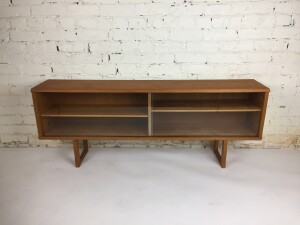 """Fantastic Vintage teak hutch with sliding glass doors - perfect for an entry way, behind your sofa, bookcase, or TV media area53""""L x 10""""D x 20.5""""H - (SOLD)"""