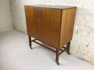 Handsome Mid-century Modern teak record cabinet with birch interior :) a place inside for your amp, or on the bottom - turntable on top and about 100 records inside -(SOLD)