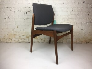 Spectacular Mid-century Modern teak occasional chair completely restored - newly refinished wood frame and upholstered seat and back - $775
