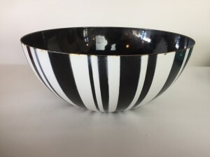 Incredible Mid-century Modern striped enameled bowl produced by Catherineholm - Norway - circa 1950's- 60's - some wear to the inside but overall in fantastic vintage condition - (SOLD)