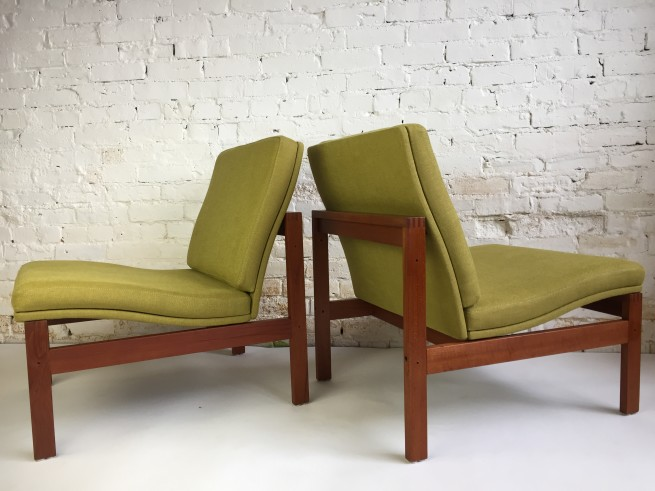Exceptional Pair of teak easy chairs designed by Torben Lind and Ole Gjerlov - Knudsen for France and Son circa 1960's - Denmark - completely restored with new foam, gorgeous fabric and refinished teak frame - (SOLD)