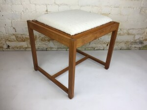 """1960's teak flip-top footstool /end table designed by Erik Buch - an Ingenious Design - perfect for small /compact - minimalist living - 19.5"""" x 17.5"""" x 17""""H $350"""