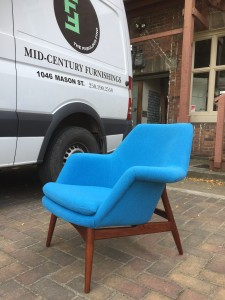 Mid-century Modern Björn Engö Manta Ray Lounge Chair - completely restored - including re-finished solid wood frame and all new foam and upholstered in a gorgeous turquoise blue fabric by Maharam - (SOLD)