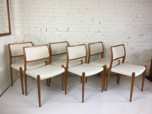 Beautiful set of 6 teak dining chairs, model #80, designed by Niels Otto Moller in the 1960s for J.L Moller Made in Denmark. All marked with the original stamps - recenlty upholstered and in excellent condition - Danish Craftsmanship at it's best -(SOLD)