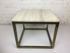Striking Pair of MId-century Modern side tables - made in Montreal - these beauties are comprised of a brass base with a marble top - looks amazing with all styles of furniture - LOVE these - nice size - excellent vintage condition - incredilbly durable (SOLD)